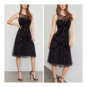 BCBGMaxAzria Illusion Velvet Appliqué Dress/6/NWT